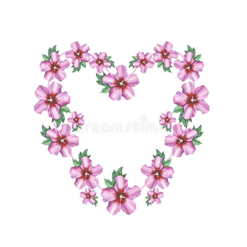Cadre rose de guirlande de coeur de fond de fleur de - Fleur au coeur noir ...