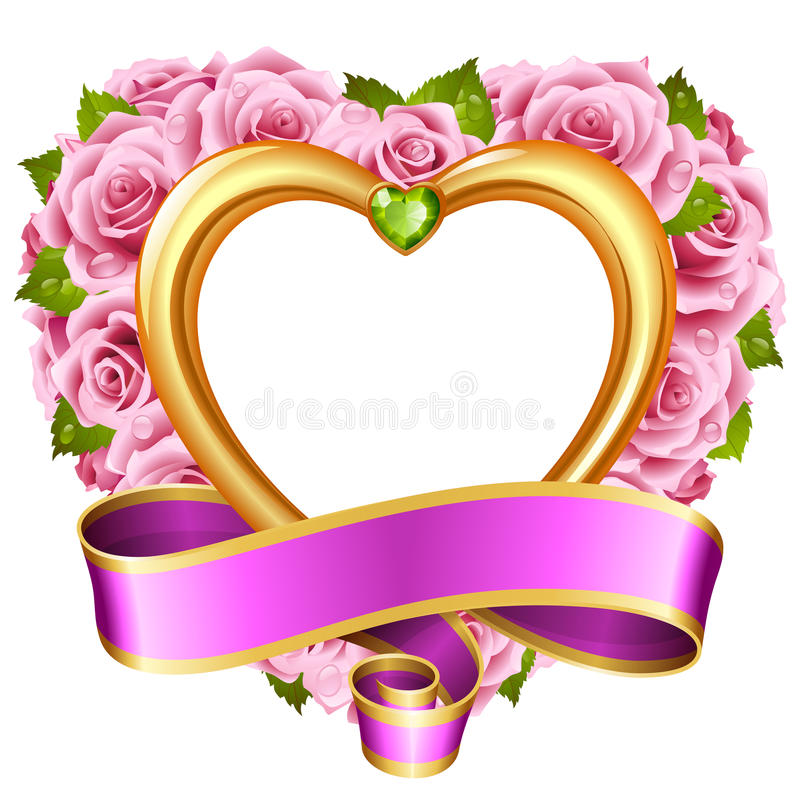 Cadre rose de vecteur sous forme de coeur sur le fond blanc illustration de vecteur