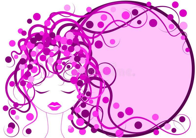 Cadre rose de vue de fille de cheveu illustration de vecteur