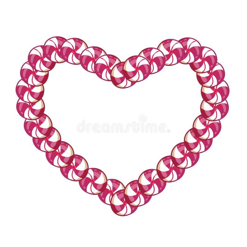 Cadre rose et blanc de sucrerie de coeur avec l'espace pour le texte illustration stock