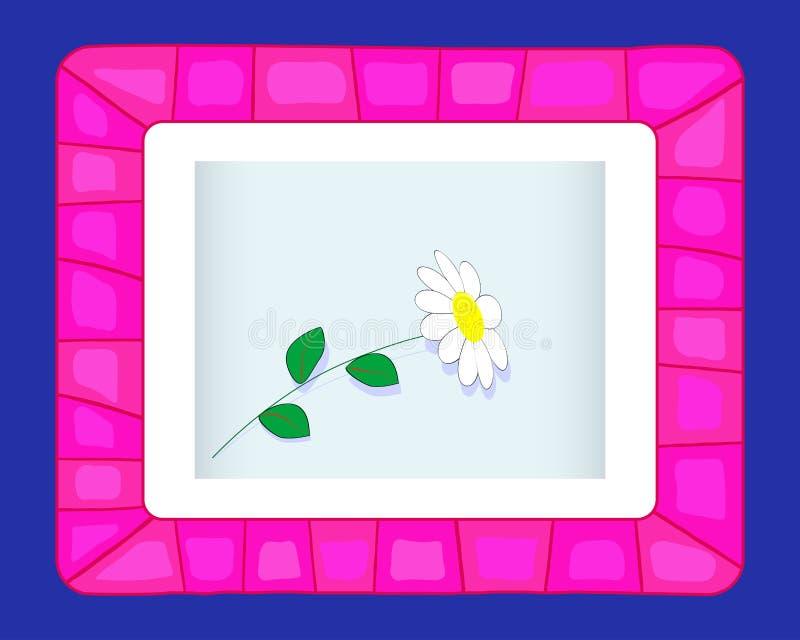 Cadre rose sur un fond bleu. illustration stock