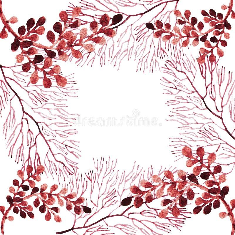 Cadre rouge avec des lignes et des branches illustration de vecteur
