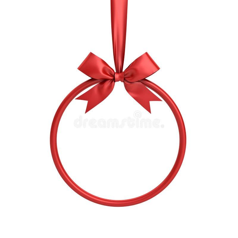 Cadre rouge de cercle accrochant avec le ruban rouge et l'arc pour la décoration de Noël et d'autres événements d'isolement sur l illustration libre de droits