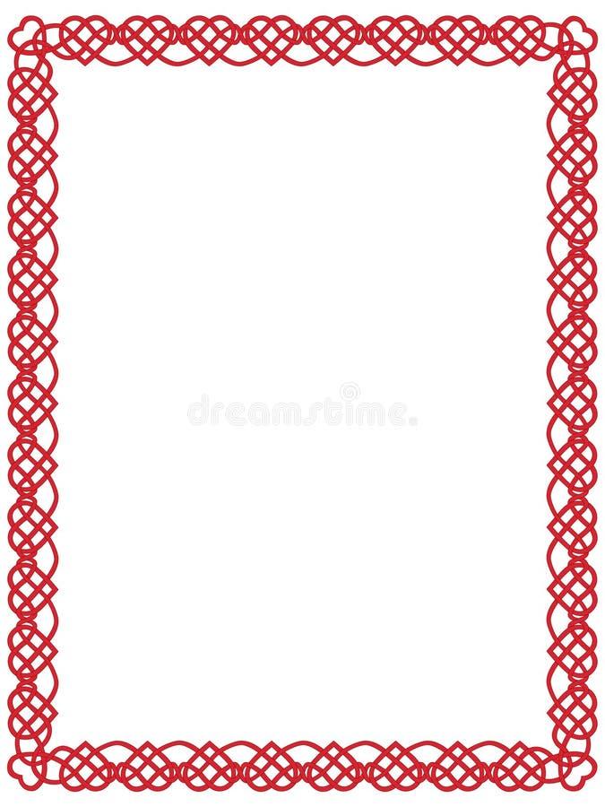 Cadre rouge de coeur avec l'ornement celtique   illustration stock
