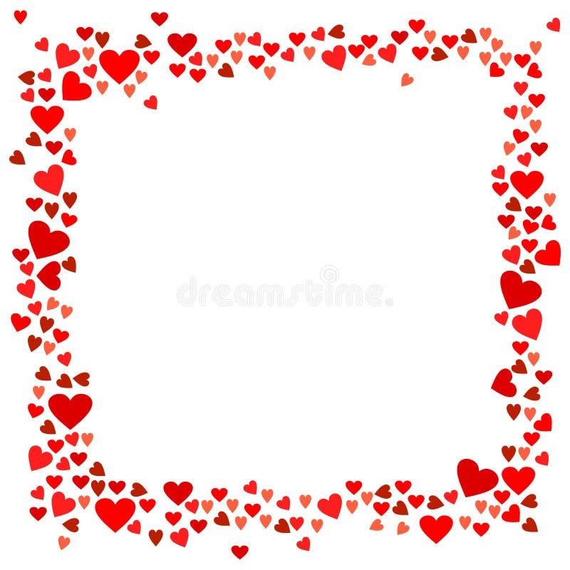 Cadre rouge de coeurs de vecteur pour la conception de jour de valentines illustration stock