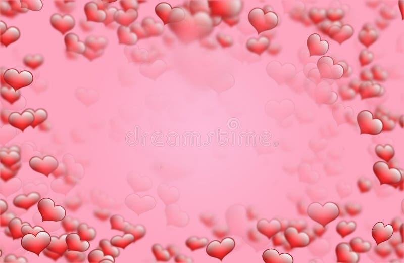 Cadre rouge de fond de coeur pour la valentine de saint meilleurs voeux et les cartes de voeux illustration stock