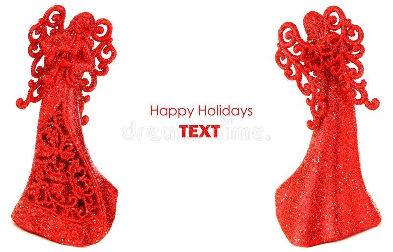 Cadre rouge de Noël d'anges photo libre de droits
