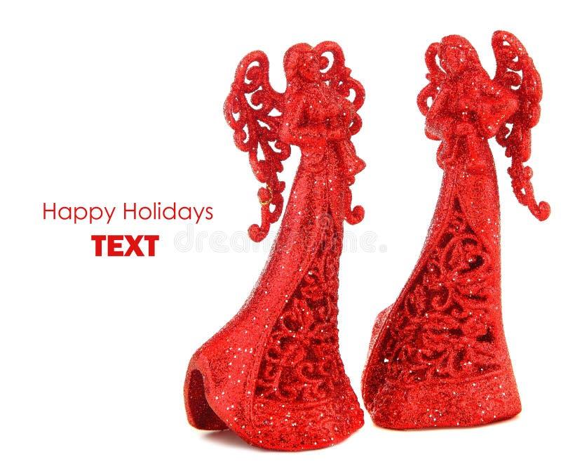 Cadre rouge de Noël d'anges images stock
