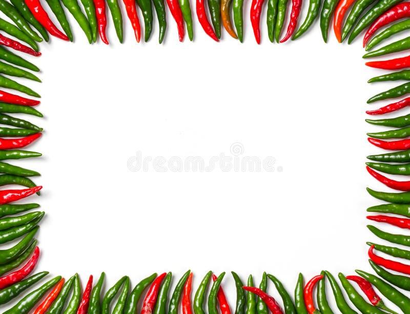 Cadre rouge et vert rectangulaire de piment d'oiseau images stock
