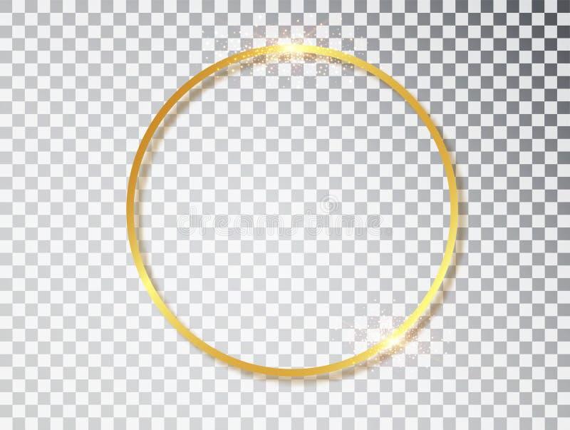 Cadre rougeoyant brillant de cru d'or avec des ombres d'isolement sur le fond transparent Fronti?re ronde r?aliste de luxe d'or illustration stock