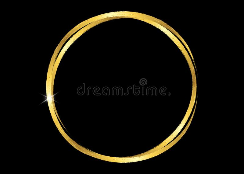 Cadre rougeoyant brillant de cru d'or avec les courses d'or de brosse d'isolement ou le fond noir Rond réaliste de luxe de feuill illustration libre de droits