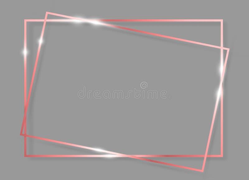 Cadre rougeoyant brillant de cru d'or de rose avec des ombres d'isolement sur le fond gris Rectangle réaliste de luxe de Rose Go illustration de vecteur