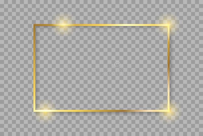 Cadre rougeoyant brillant de luxe d'or de cru avec des ombres D'isolement vecteur sur de fond d'or de frontière †transparent de illustration stock
