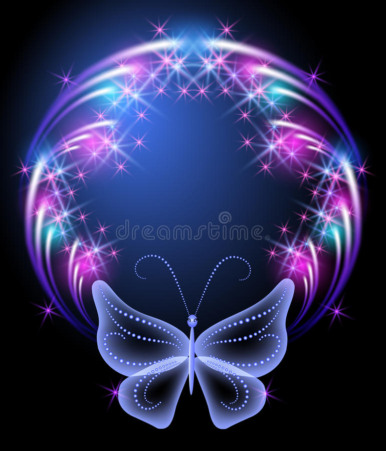 Cadre rougeoyant et papillon transparent illustration libre de droits
