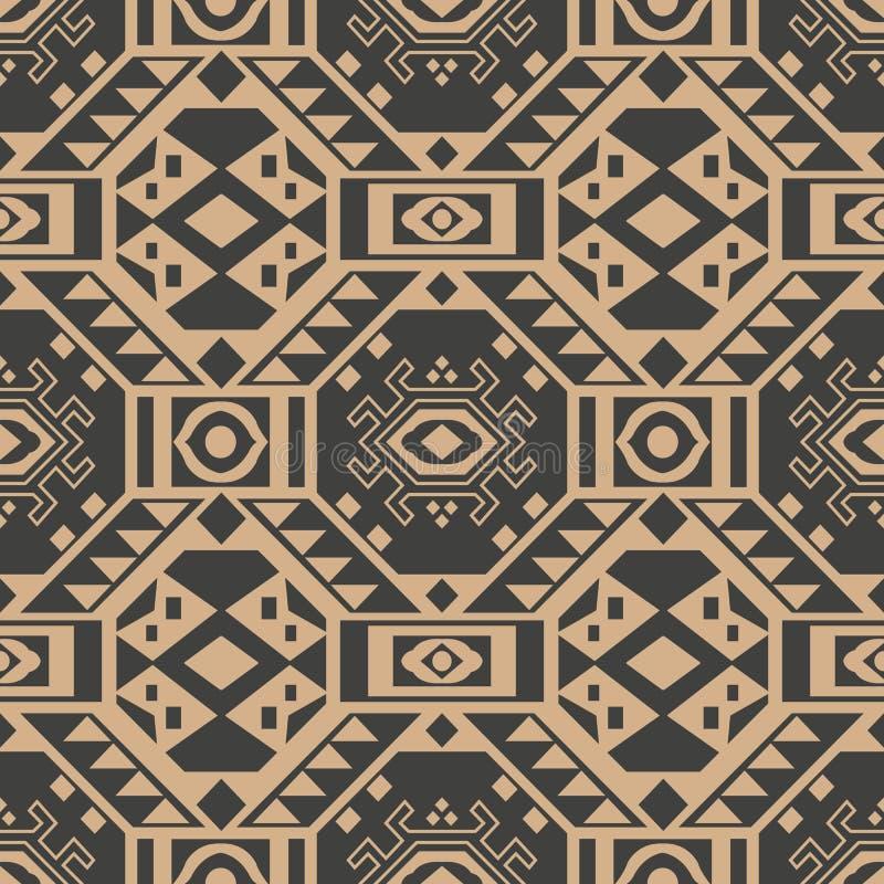 Cadre sans couture de triangle de croix de la géométrie de polygone de fond de modèle de damassé de vecteur rétro Conception brun illustration stock