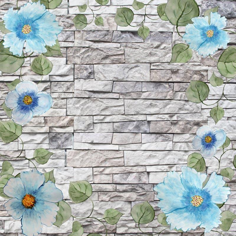 Cadre scénique de fond d'aquarelle avec les fleurs et les feuilles bleues illustration de vecteur