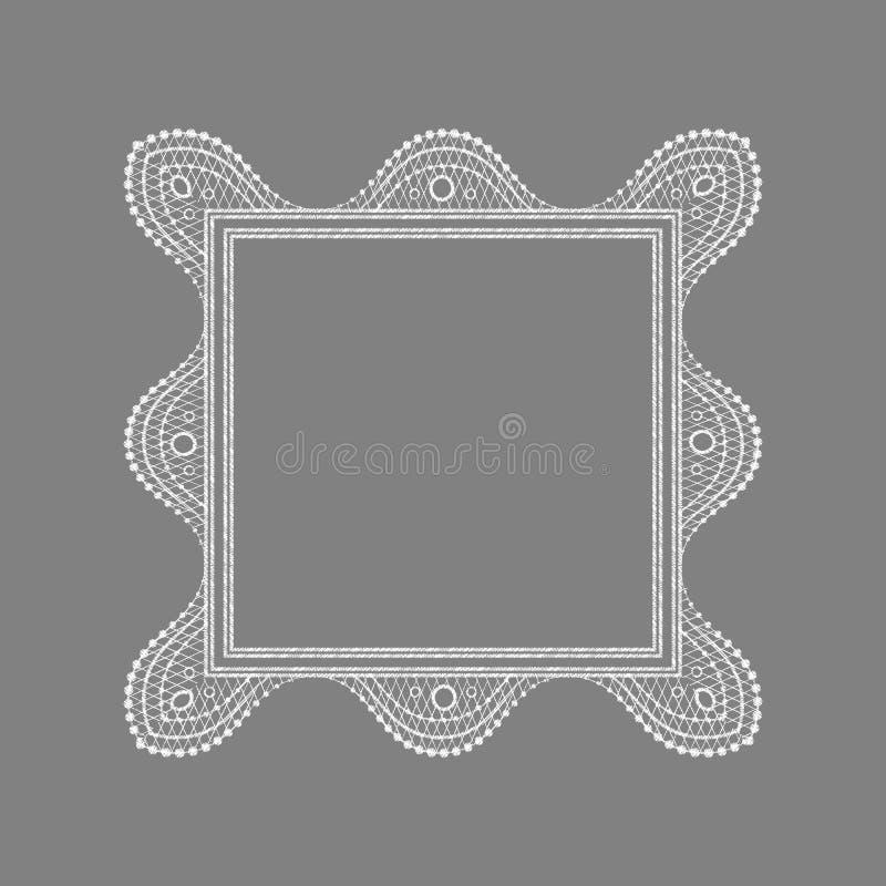Cadre sensible de dentelle de place modèle géométrique ornemental de napperon illustration libre de droits