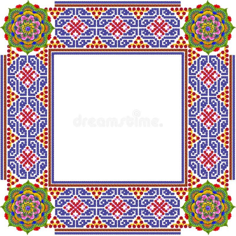 Cadre simple carré de photo de mandalas photographie stock