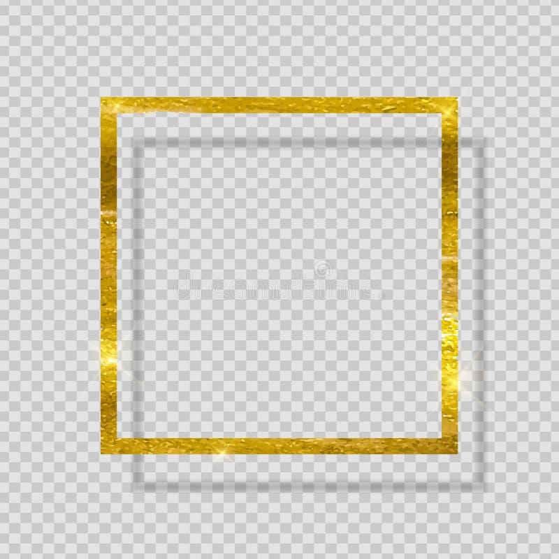 Cadre texturisé éclatant de peinture d'or sur le fond transparent Illustration de vecteur illustration de vecteur