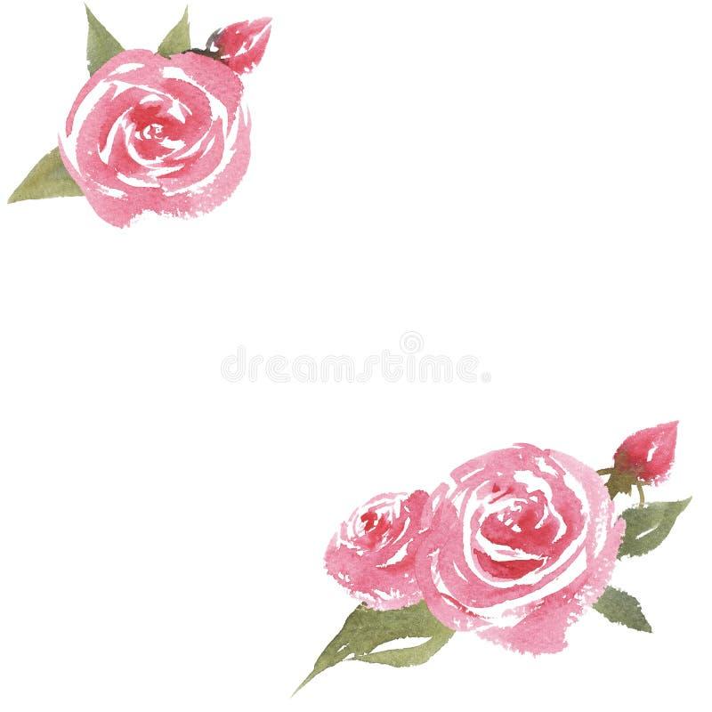 cadre tiré par la main d'aquarelle avec des roses illustration de vecteur