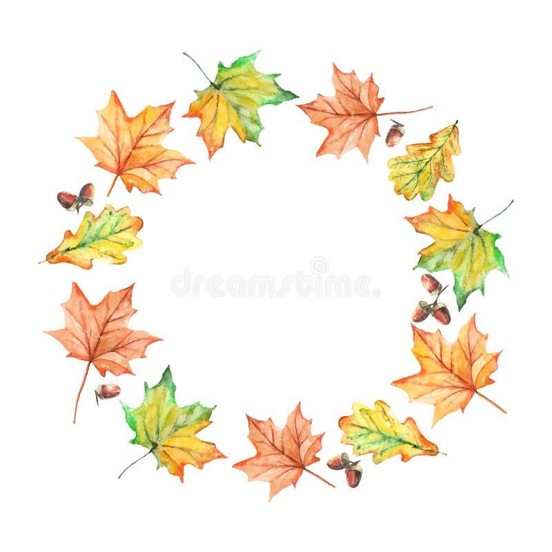 Cadre tiré par la main de feuilles d'automne d'aquarelle illustration libre de droits