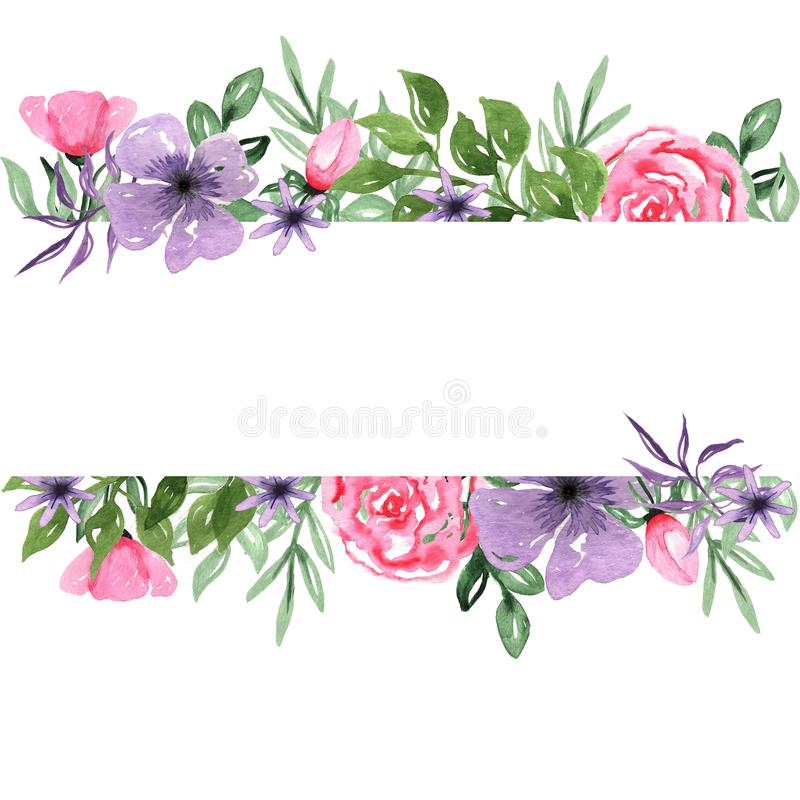 Cadre tiré par la main de fond d'arrangement floral d'aquarelle illustration stock