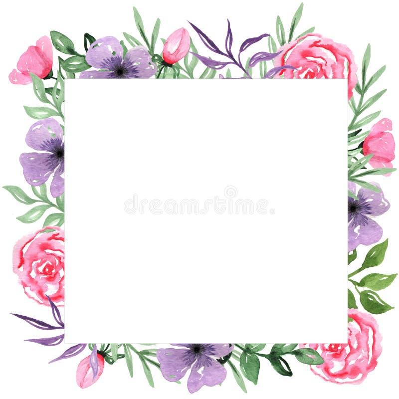 Cadre tiré par la main de fond d'arrangement floral d'aquarelle illustration libre de droits