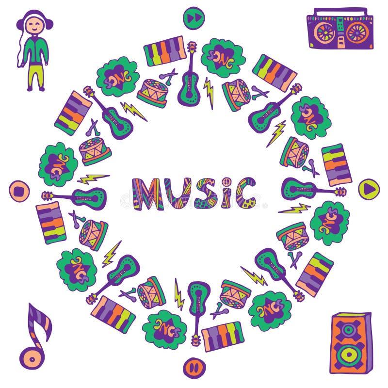 Cadre tiré par la main de musique Icônes colorées de griffonnage de musique Calibre pour l'insecte, bannière, affiche, couverture illustration de vecteur