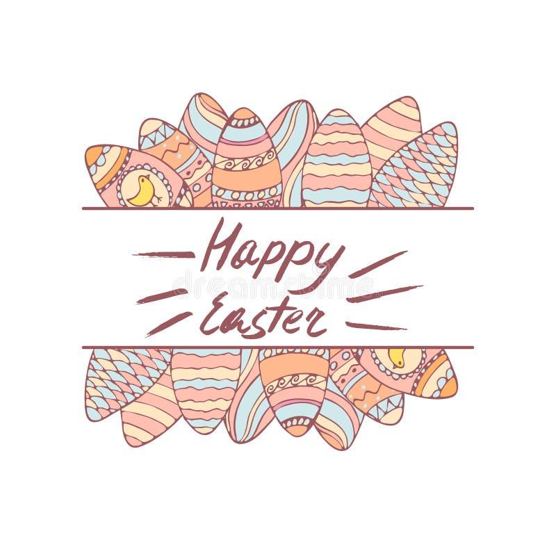 Cadre tiré par la main de Pâques avec la salutation illustration stock