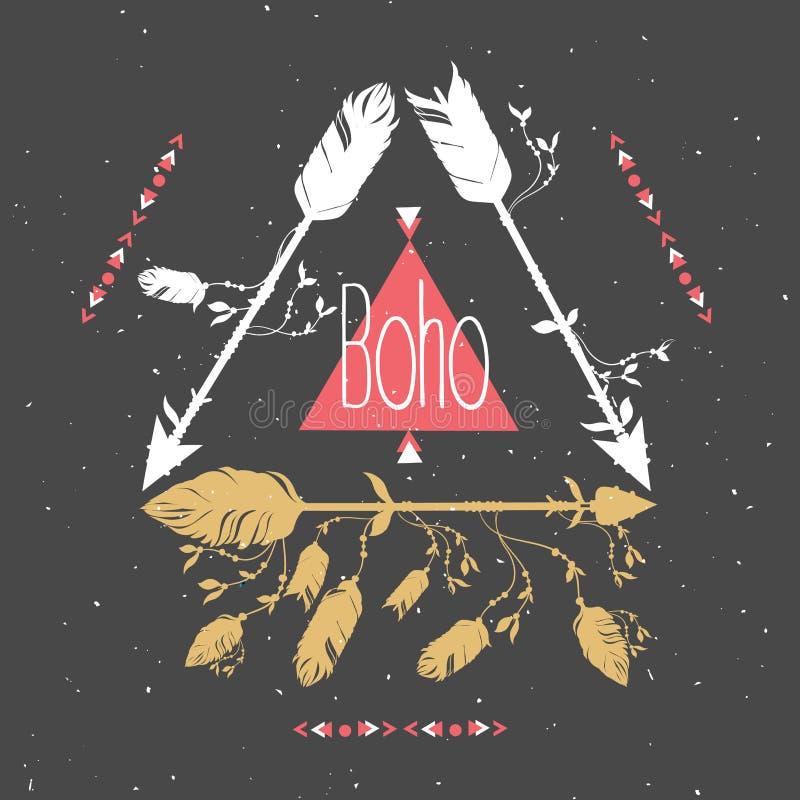 Cadre tribal avec des flèches et des plumes Plumes ethniques Style de Boho illustration libre de droits