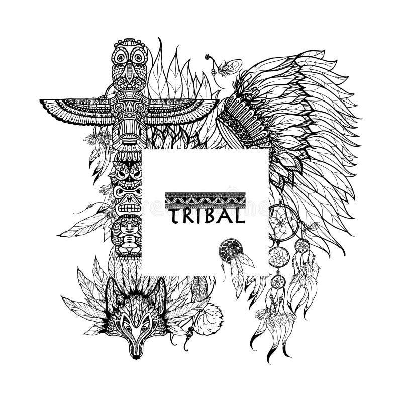 Cadre tribal d'éléments illustration stock