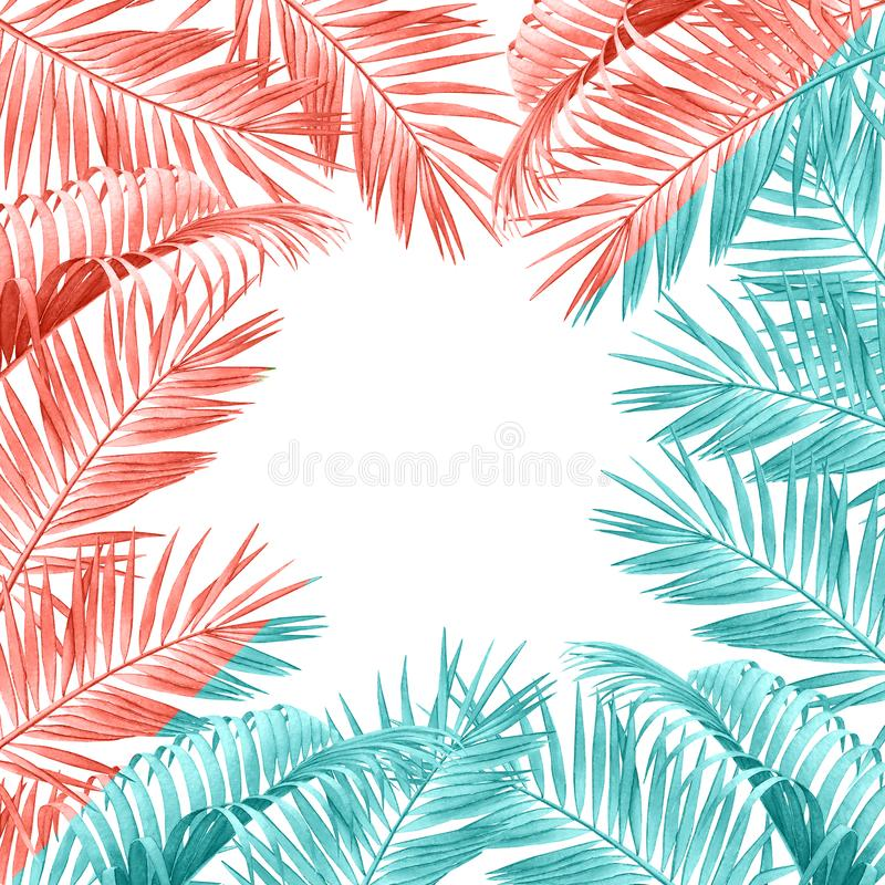Cadre tropical avec des branches de paume d'aquarelle dans des couleurs de corail bleu-clair et vivantes illustration de vecteur