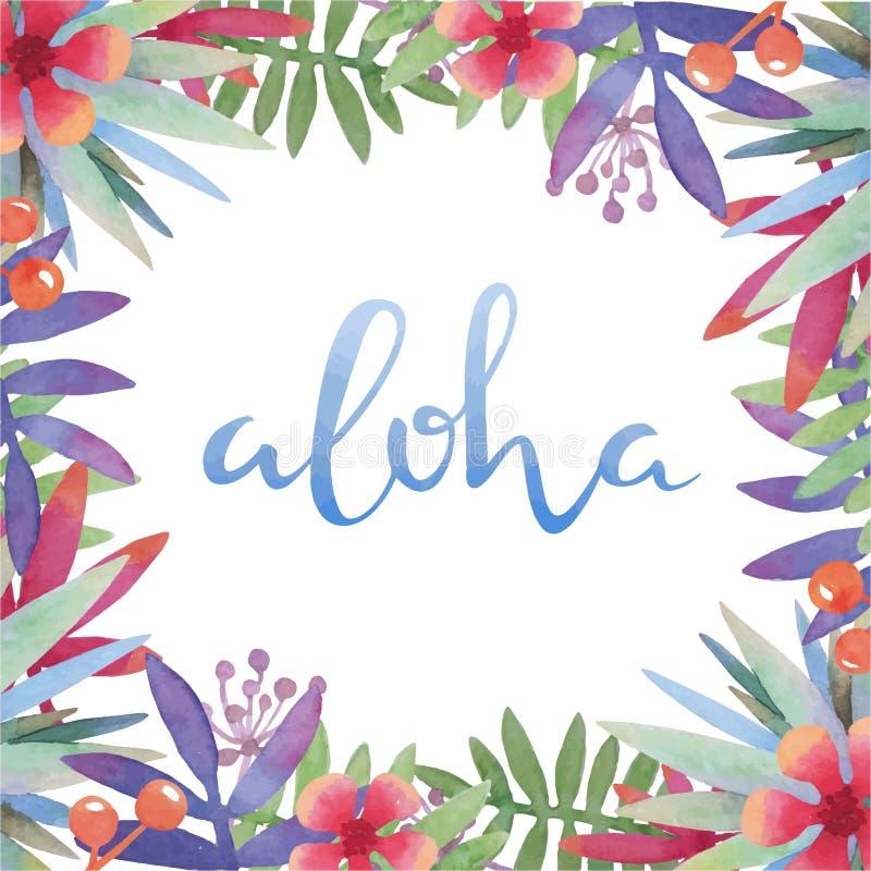 Cadre tropical botanique d'aquarelle avec la salutation d'Hawaï illustration de vecteur