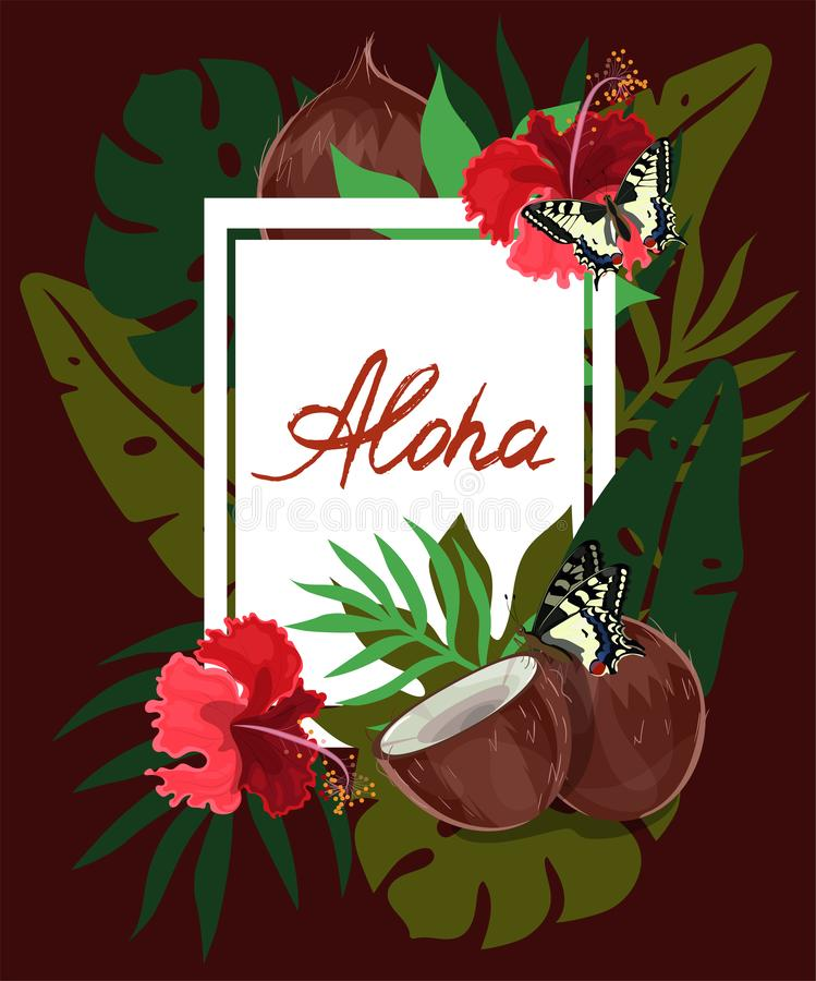 Cadre tropical de feuilles, de ketmie et de noix de coco de rectangle aloha sur le fond foncé Fleurs, feuilles et fond tropicaux  illustration stock