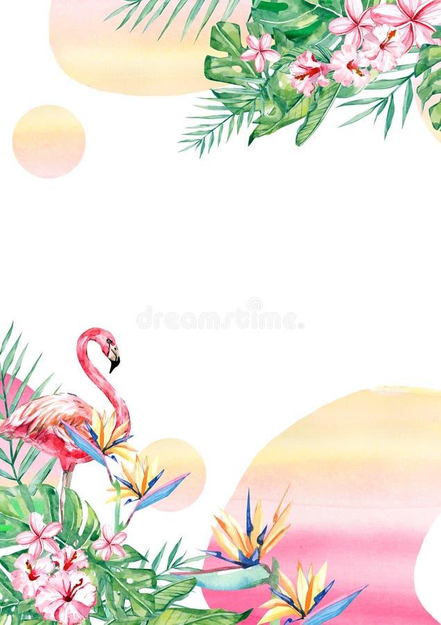 Cadre tropical de frontière d'abrégé sur disposition de fleur, de flamant et de feuille d'aquarelle pour épouser, anniversaire, a illustration stock