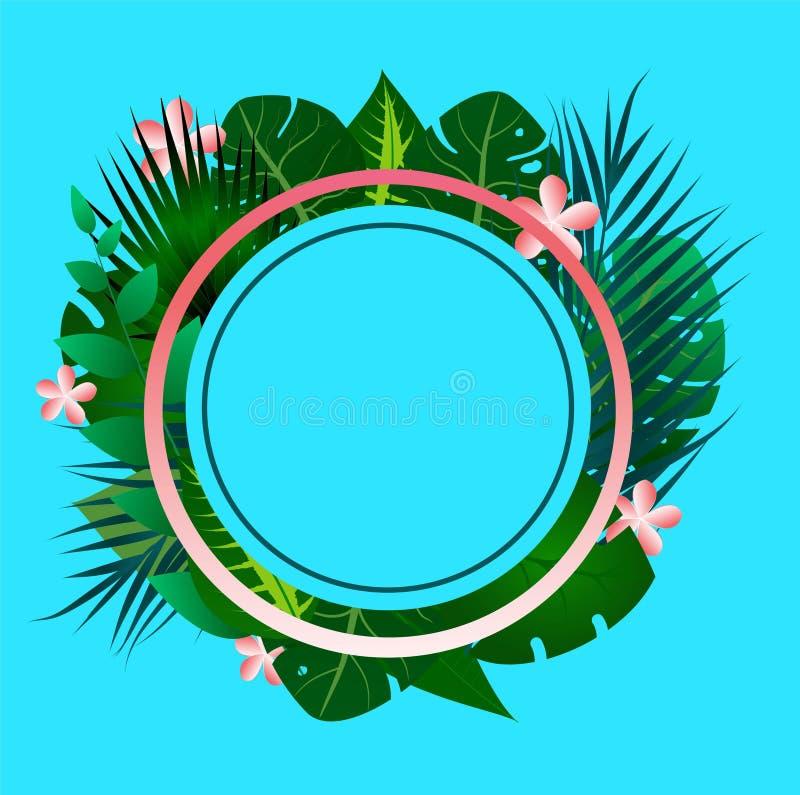 Cadre tropical des textes de fond bleu images libres de droits