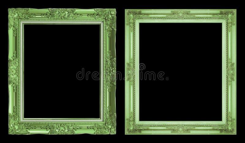 Cadre vert antique de la collection 2 d'isolement sur le fond noir image libre de droits