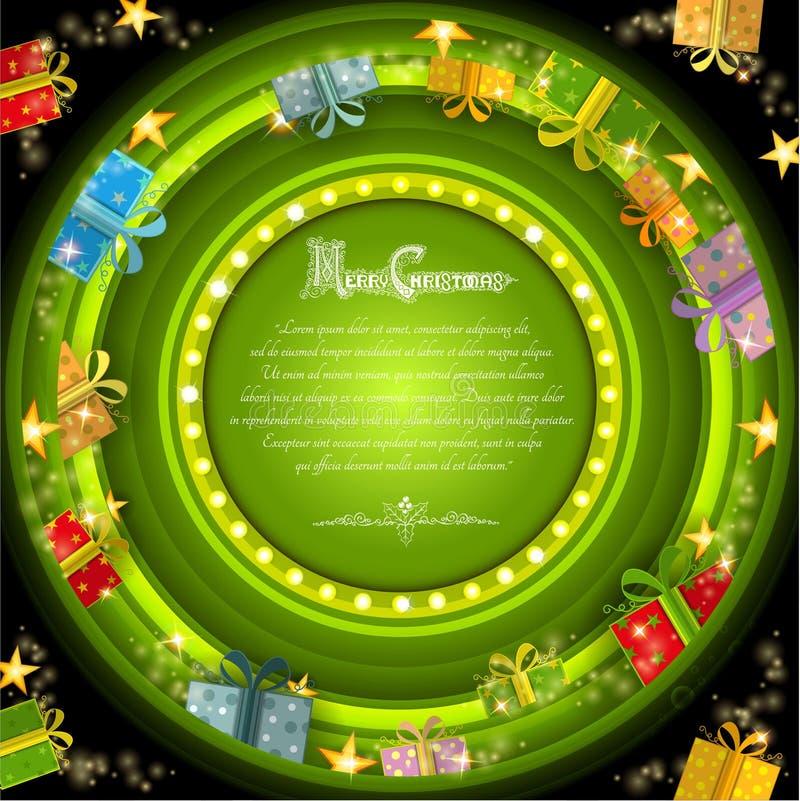 Cadre vert de cercle sur le fond vert de tunnel de Noël avec les étoiles et les boîtes d'or illustration libre de droits
