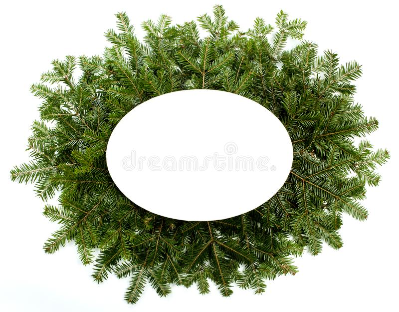 Cadre vert de Noël d'isolement sur le fond blanc images stock
