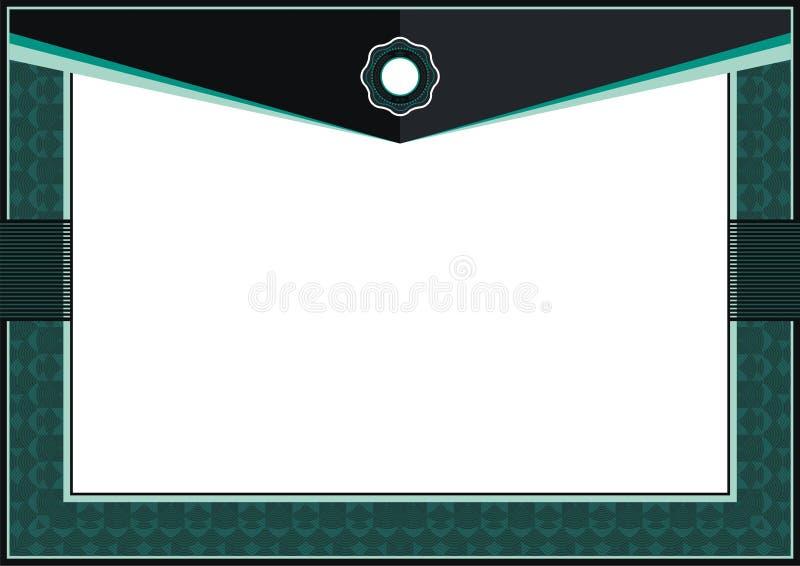 Cadre vert-foncé de calibre de certificat ou de diplôme - frontière illustration stock