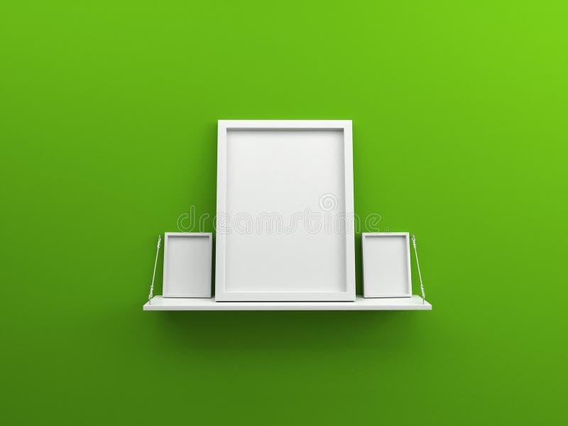 Cadre vide blanc 3d de photo d'étagère et de trois affiches sur le backgound vert illustration stock