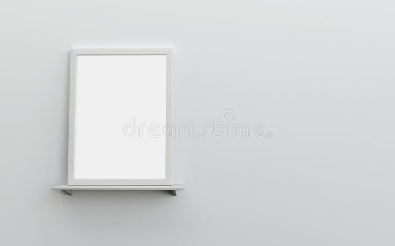 Cadre vide blanc réaliste sur le mur blanc d'étagère avec l'espace pour t illustration stock