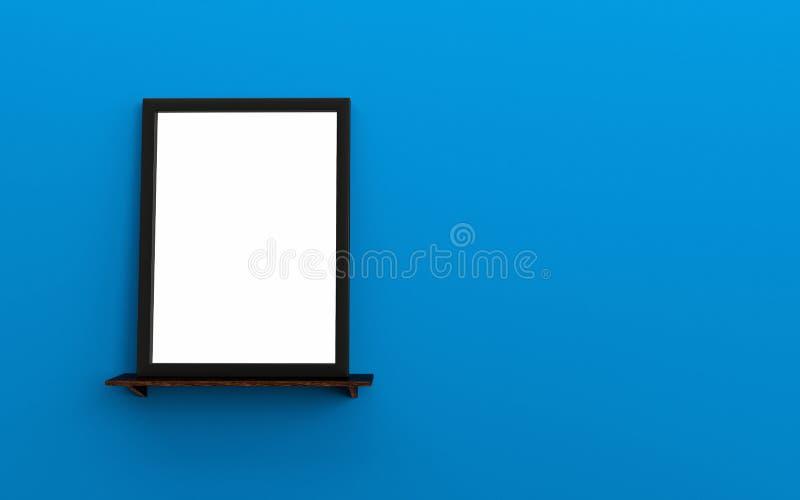 Cadre vide noir de photo sur l'espace bleu de mur d'étagère en bois pour le texte illustration libre de droits