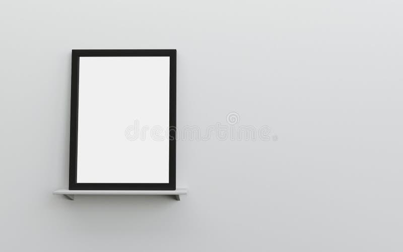 Cadre vide noir de photo sur un mur gris d'étagère blanche avec l'espace pour le texte illustration de vecteur