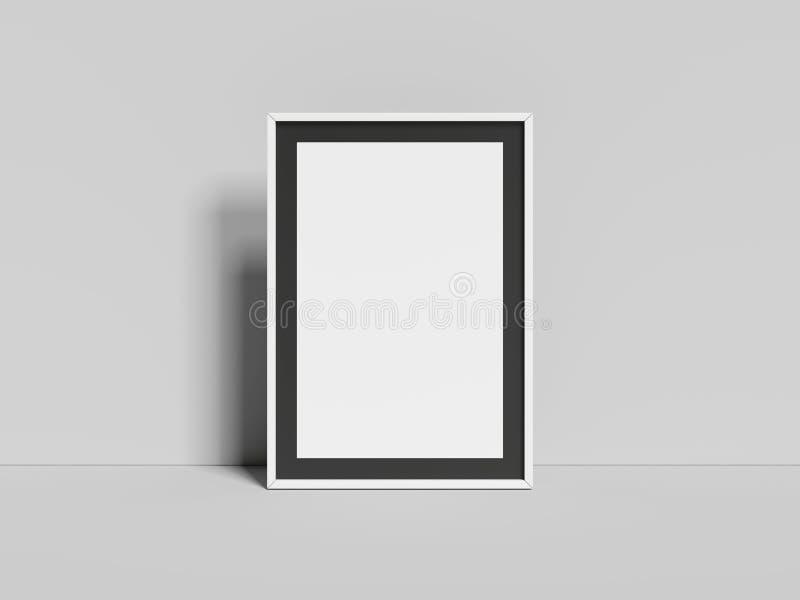 Cadre vide réaliste sur le fond gris, rendu 3d illustration stock