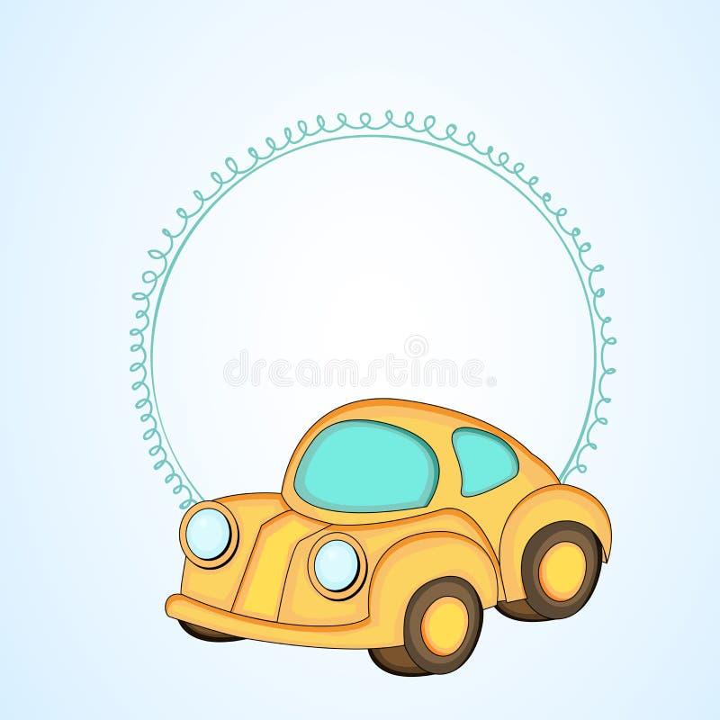 Cadre vide simple pour votre message avec la voiture kiddish de style illustration de vecteur