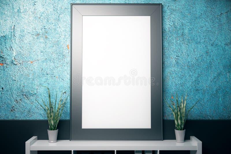 Cadre vide sur le mur bleu texturisé illustration libre de droits