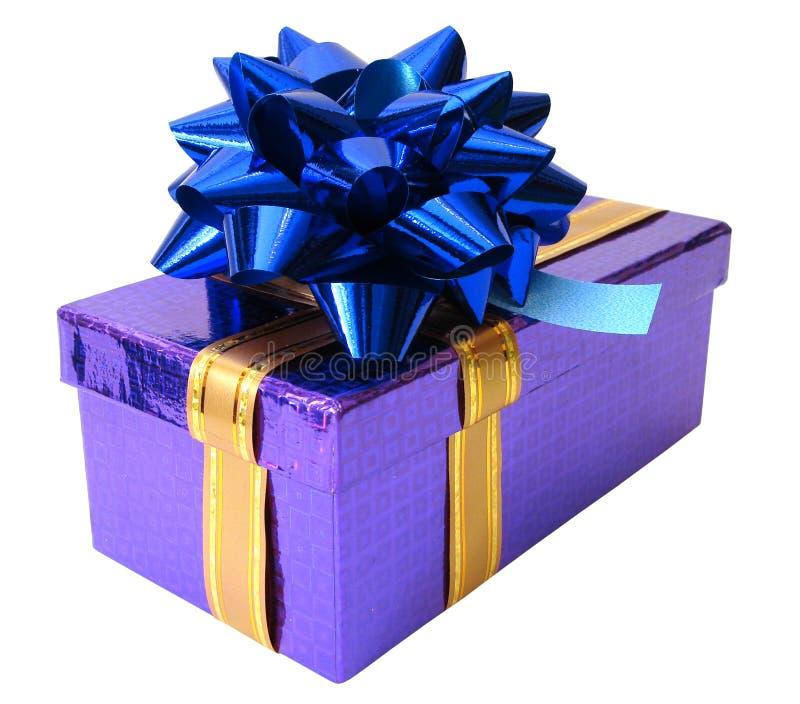 Cadre violet attaché de bande bleue au-dessus du fond blanc photo libre de droits