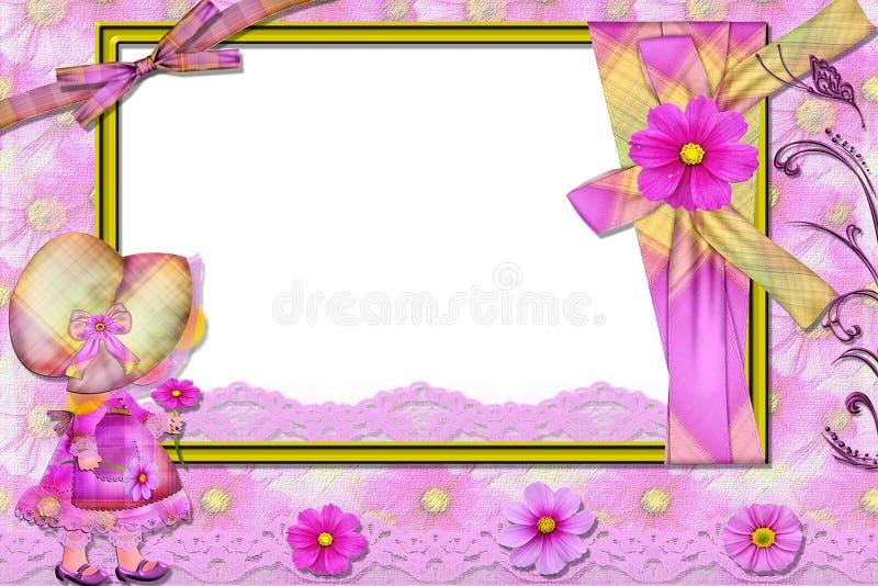 Cadre violet pour une photo, avec la fille. photo libre de droits