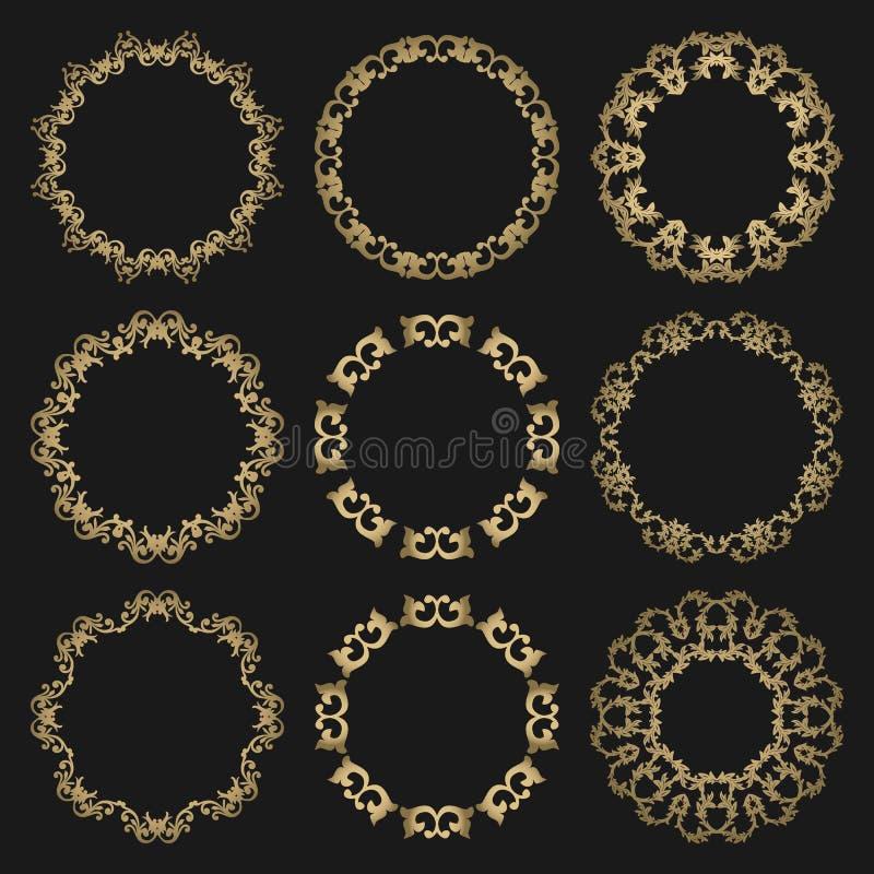 Cadres à jour ronds réglés d'or sur le fond noir illustration de vecteur